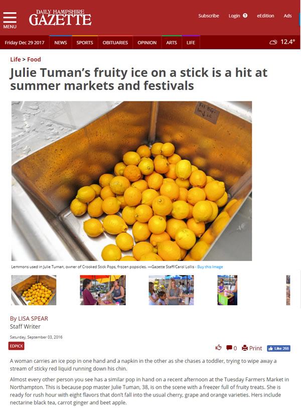 Daily Hampshire Gazette – Julie Tuman's fruity ice on a stick is a hit at summer markets and festivals