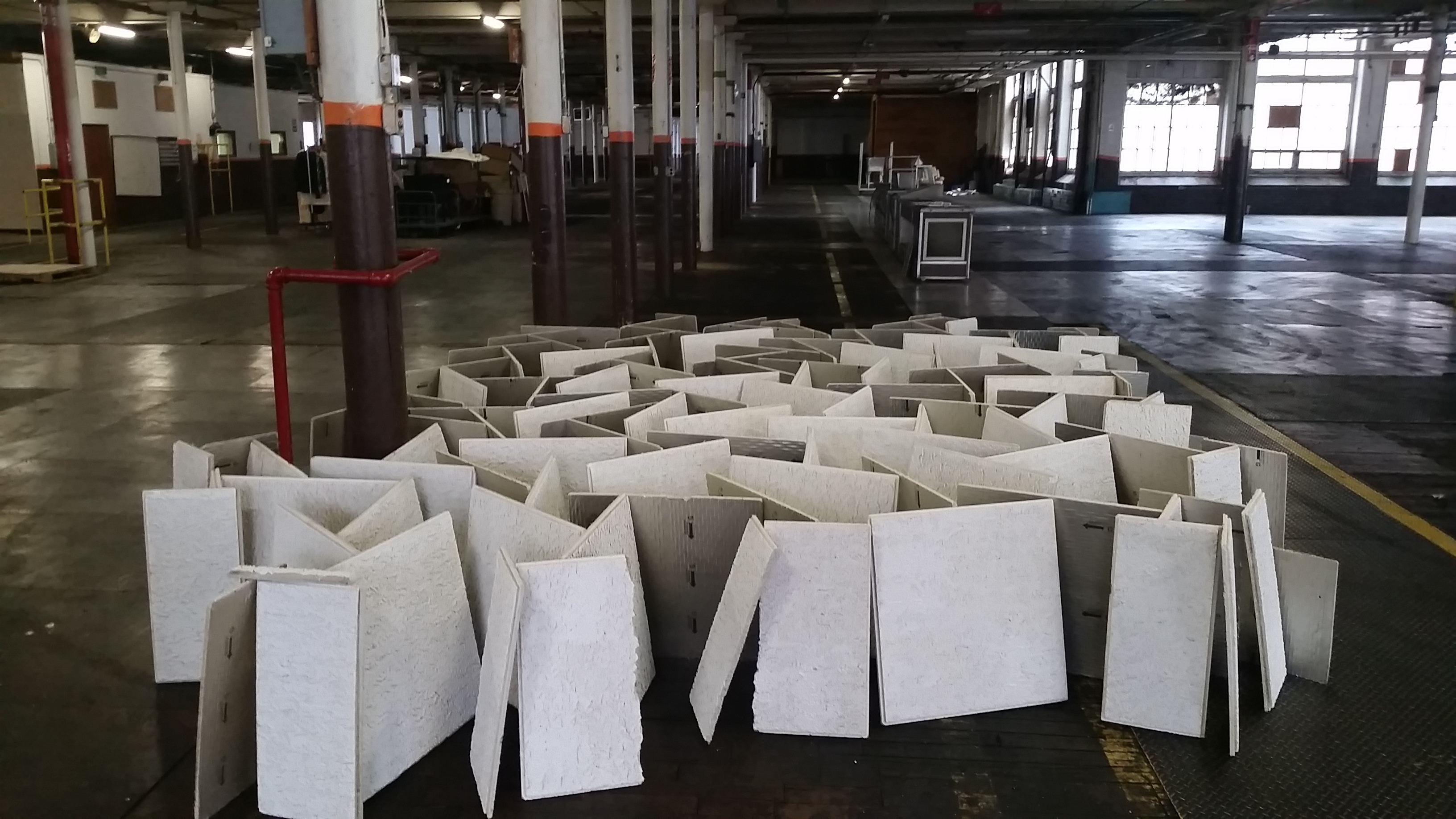Took The Ceiling Tiles Into The Factory For A Thorough Cleaning And Painting. There They Are Drying.